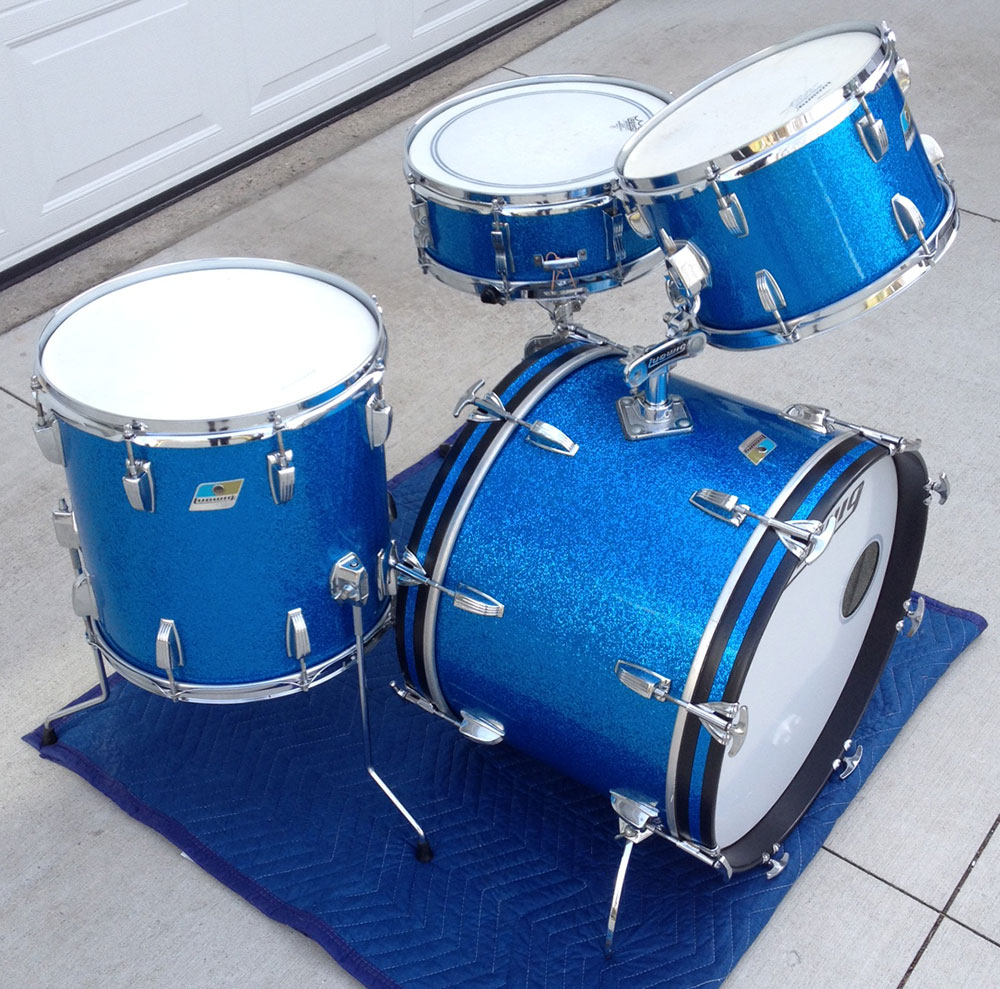 1970s Ludwig Blue Sparkle Downbeat Kit With Jazzfest Snare