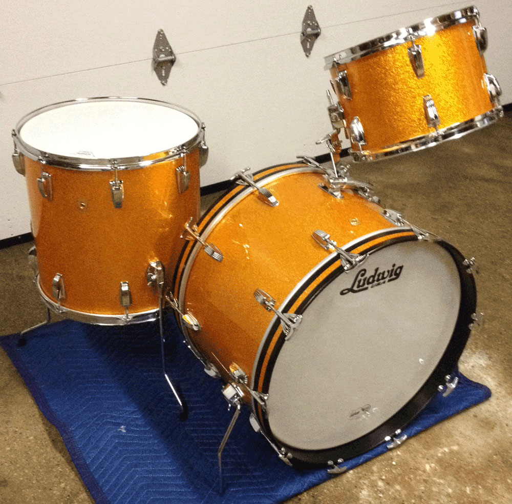 Late 1960s Ludwig Classic 22/16/13 Rewrap in Gold Sparkle