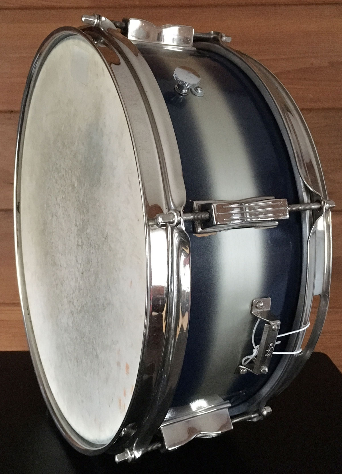 Early 1960s Ludwig Pioneer Pre-Serial Snare in Blue/Silver Duco