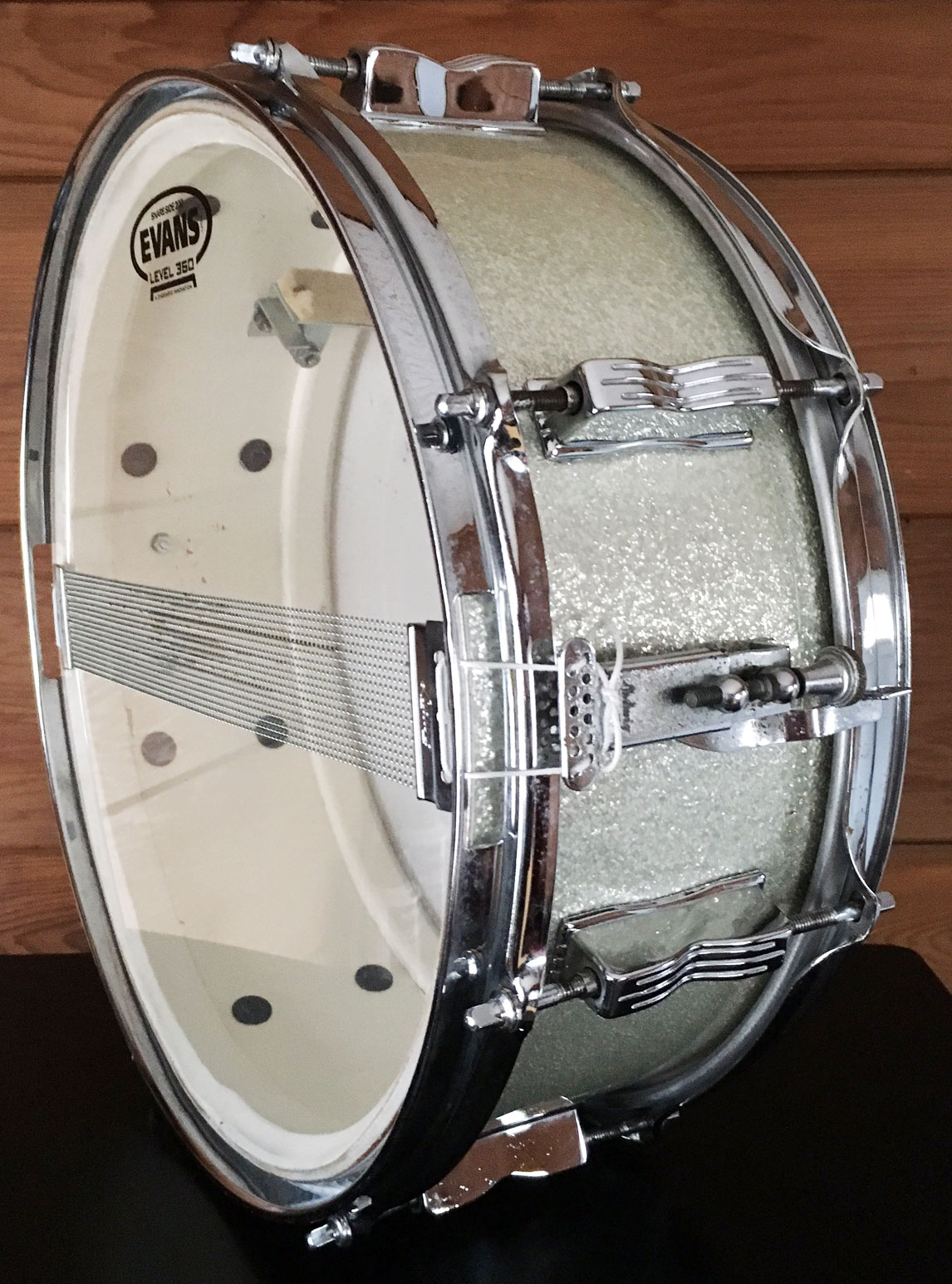 1965 ludwig jazz fest snare in silver sparkle mke drum co. Black Bedroom Furniture Sets. Home Design Ideas