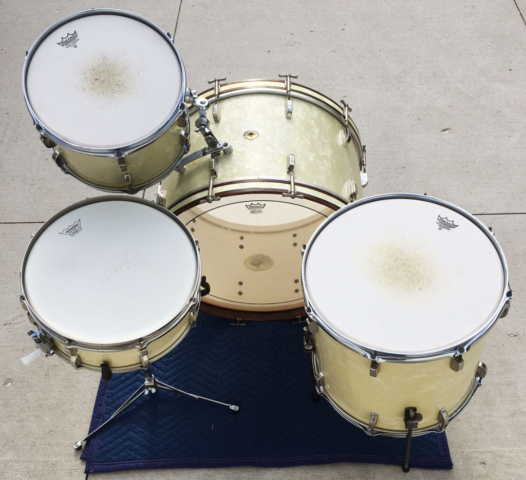 Early 1950s Leedy & Ludwig 13/16/24 with 14 Snare in White Marine Pearl