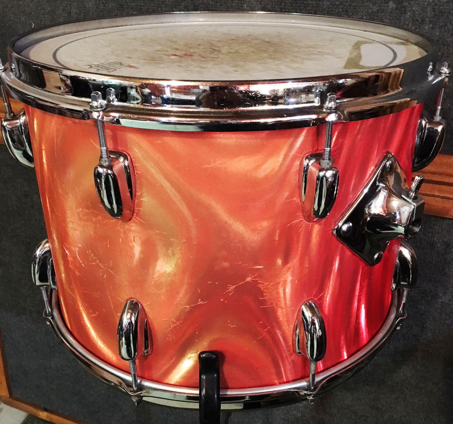 "1970s Slingerland 14"" Tom in Red Satin Flame"