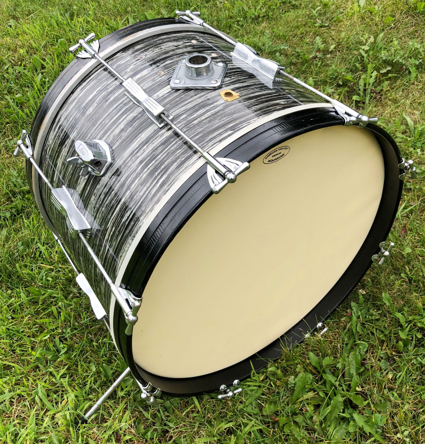"""1960s Ludwig 20"""" Club Date Bass Drum in Black Oyster Pearl"""