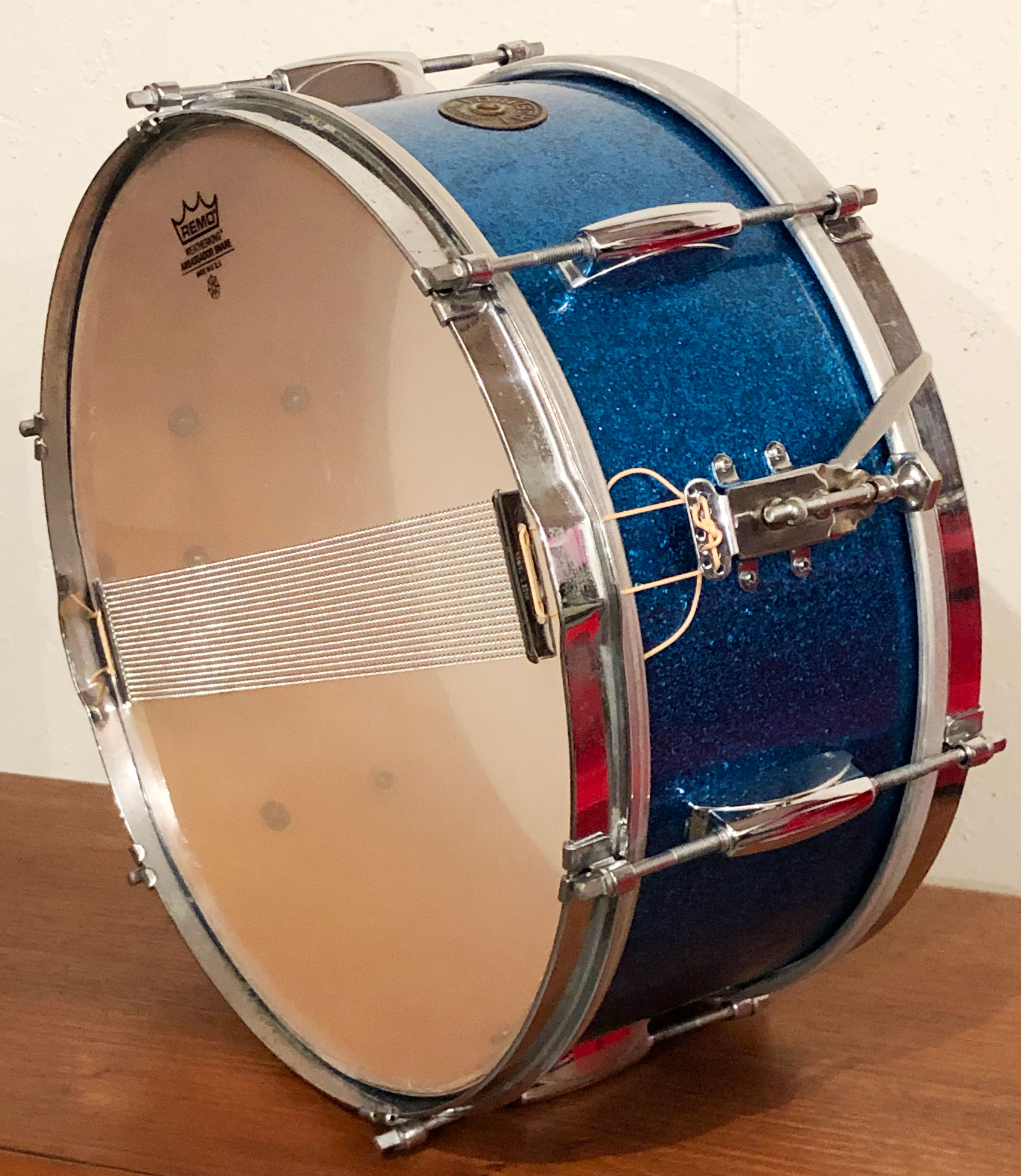Early 1950s Gretsch Dixieland 6x14 Snare Drum in Blue Sparkle