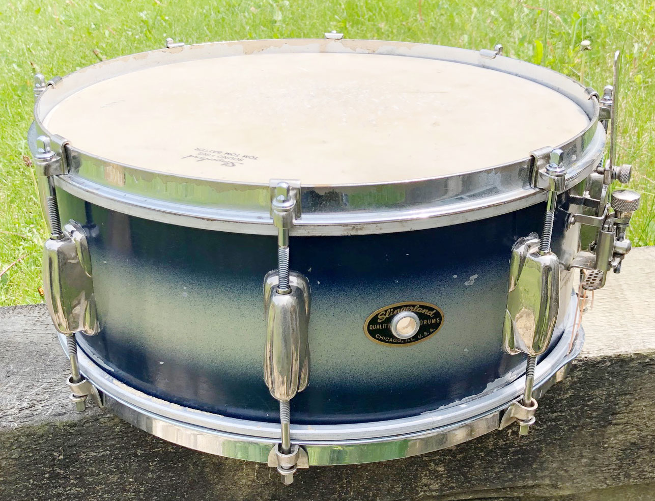 1950s Slingerland Student Model Radio King Snare Drum in Blue/Silver Duco