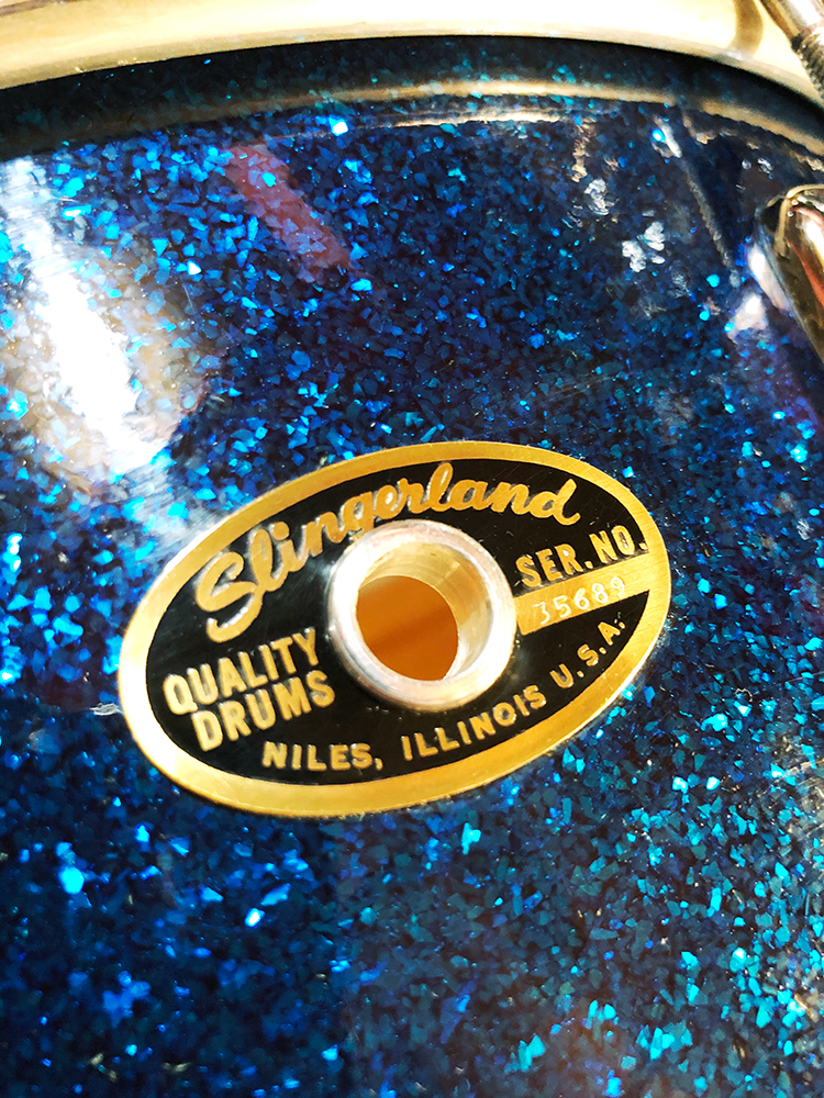1960s Slingerland Artist Model Single Ply Maple Snare Drum in Dark Blue Glass Glitter