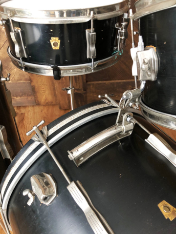 1960s Ludwig Club Date Drum Set in Black Lacquer
