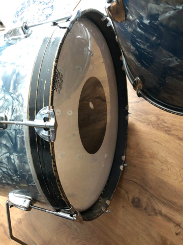1960s Pearl 13/16/20 Drum Set in Light Blue Pearl