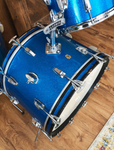 1965 Ludwig Super Classic 13/16/22 Drum Set in Blue Sparkle