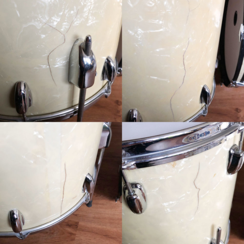 1965 Slingerland 13/16/20 Drum Set in White Marine Pearl